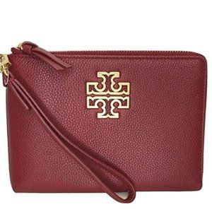 Tory Burch Britten Large Pebbled Zip Pouch
